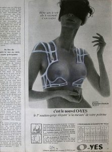 Luis Pita | Intervenciones | Interventions | serie «Lencería y accesorios para esclavas del hogar» (1990) | Sostén O-YES | series «Lingerie and accessories for household slaves» | Brassiere O-YES