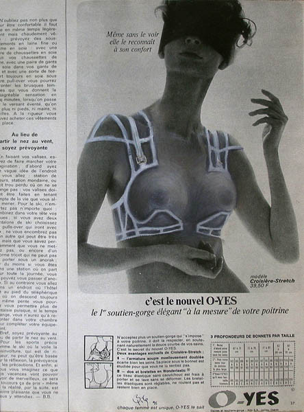Luis Pita | Intervenciones | Interventions | serie «Lencería y accesorios para esclavas del hogar» (1990) | Sostén O-YES (fragmento) | series «Lingerie and accessories for household slaves» | Brassiere O-YES (fragmento)
