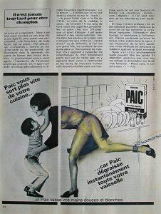 Luis Pita | Intervenciones | Interventions | serie «Lencería y accesorios para esclavas del hogar» (1990) | Detergente Paic | series «Lingerie and accessories for household slaves» | Paic Soap