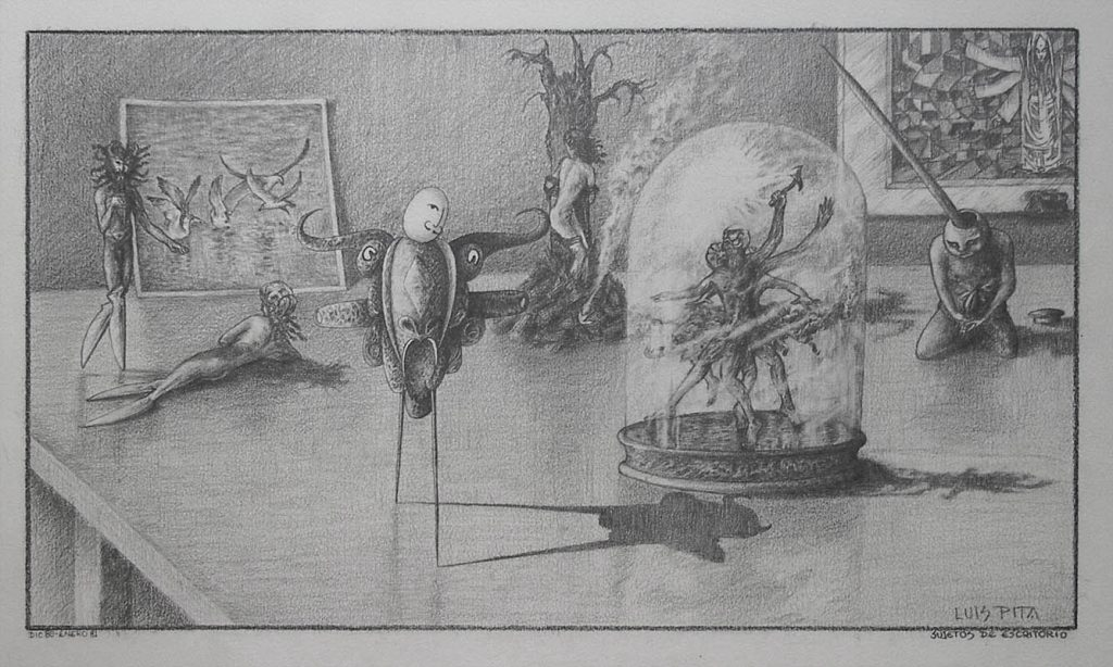 Luis Pita | Dibujos a lápiz | Pencil Drawings | Sujetos de escritorio 1 (1980) (fragmento) | Subjects of escritoire 1 (fragment)