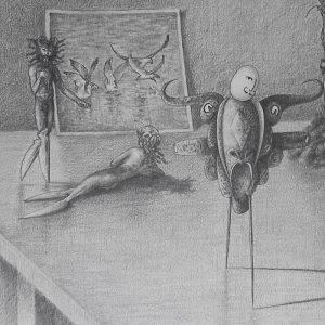 Luis Pita | Dibujos a lápiz | Pencil Drawings | Sujetos de escritorio 1 (1980) (fragmento) | Subjects of escritoire 1 (1980) (fragment)