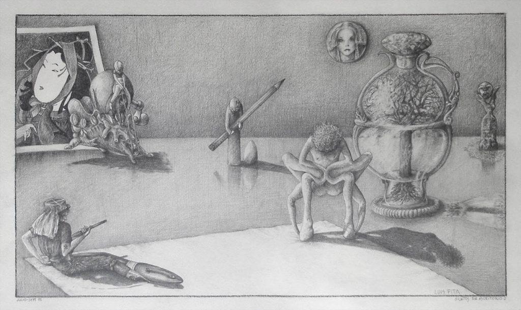 Luis Pita | Dibujos a lápiz | Pencil Drawings | Sujetos de escritorio 2 (1980) | Subjects of escritoire 2 (1980)