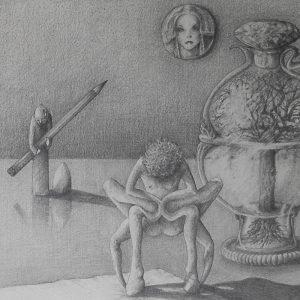 Luis Pita | Dibujos a lápiz | Pencil Drawings | Sujetos de escritorio 2 (1980) (fragmento) | Subjects of escritoire 2 (1980) (fragment)