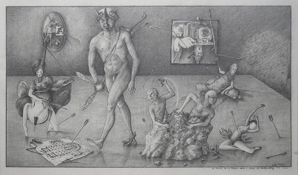 Luis Pita | Dibujos a lápiz | Pencil Drawings | Sujetos de escritorio 3 - El Coloso de la Poesía (hiere a todas las Artes por igual) - (1981) | Poetry Colossus (hurts all Arts equally)