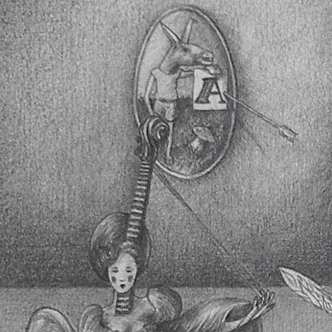 Luis Pita   Dibujos a lápiz   Pencil Drawings   El Coloso de la Poesía (hiere a todas las Artes por igual) - (1981)   Poetry Colossus (hurts all Arts equally)