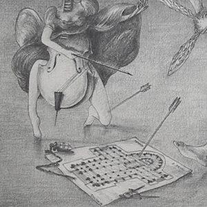 Luis Pita | Dibujos a lápiz | Pencil Drawings | El Coloso de la Poesía (hiere a todas las Artes por igual) - (1981) (fragmento) | Poetry Colossus (hurts all Arts equally) - (1981) (fragment)