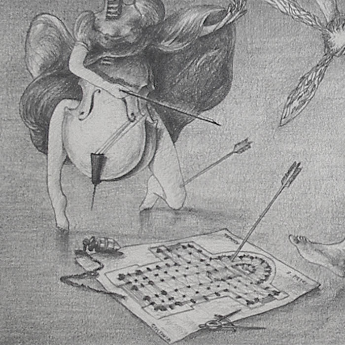 Luis Pita | Dibujos a lápiz | Pencil Drawings | El Coloso de la Poesía (hiere a todas las Artes por igual) - (1981) | Poetry Colossus (hurts all Arts equally)