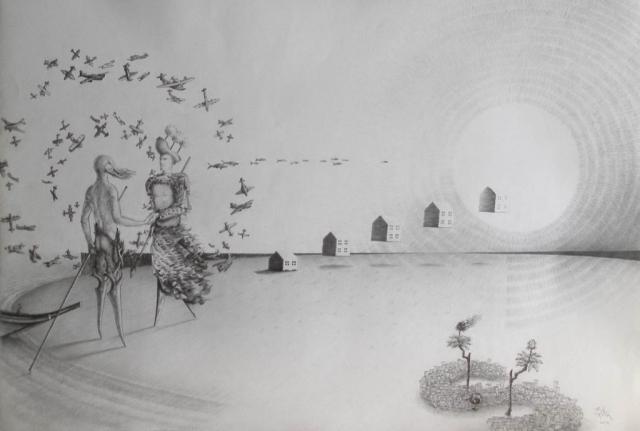Luis Pita   Dibujos a lápiz   Pencil Drawings   (1993) Aviones y Copas   Planes and Cups