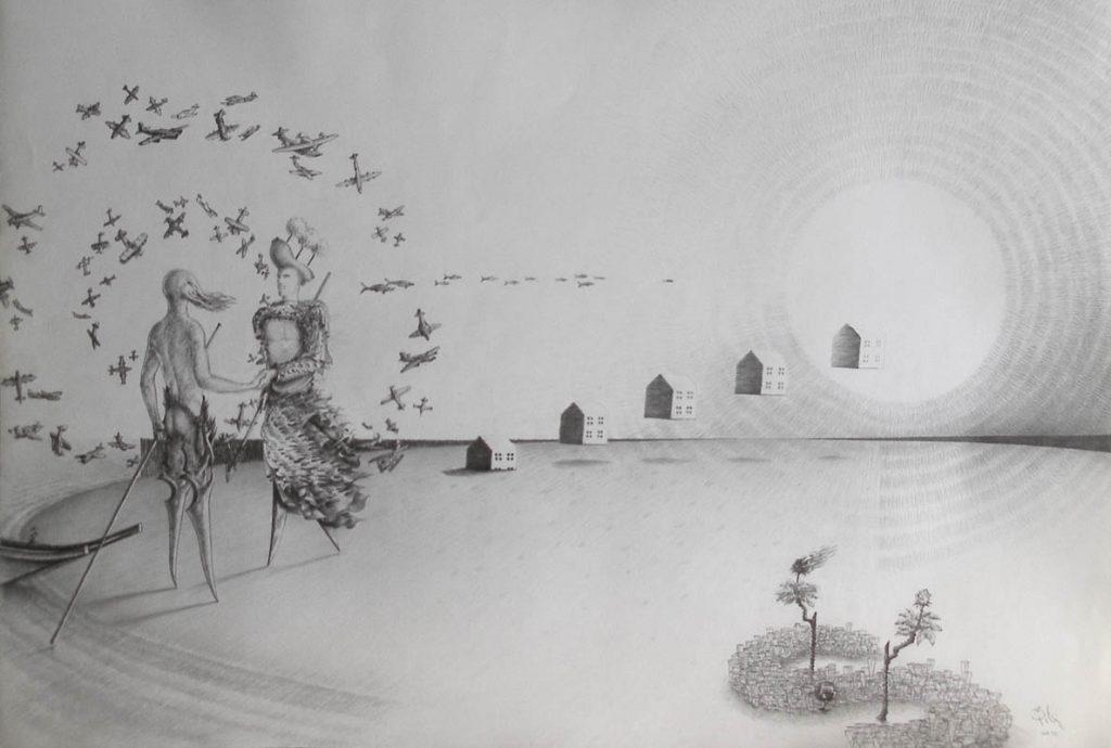 Luis Pita | Dibujos a lápiz | Pencil Drawings | Aviones y Copas (1993) | Planes and Cups
