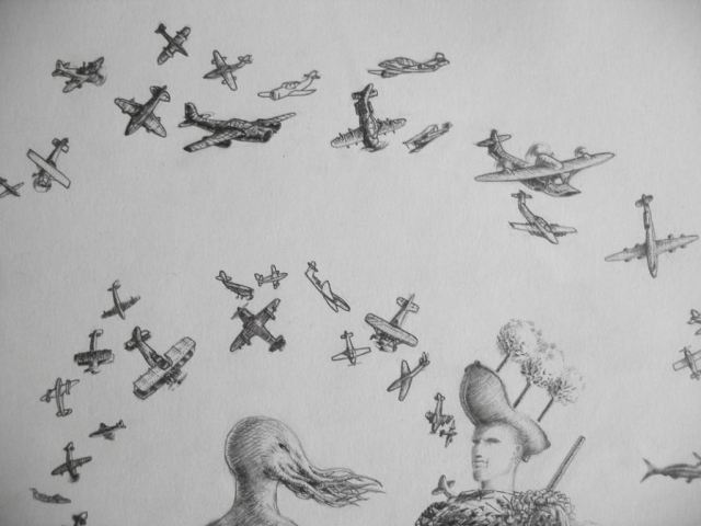 Luis Pita | Dibujos a lápiz | Pencil Drawings | Aviones y Copas (1993) | Planes and Cups