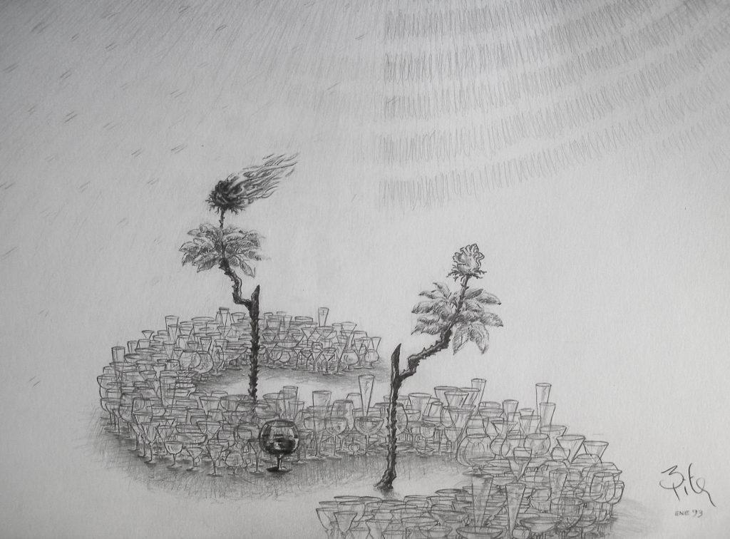 Luis Pita | Dibujos a lápiz | Pencil Drawings | Aviones y Copas (1993) (fragmento) | Planes and Cups (1993) (fragment)