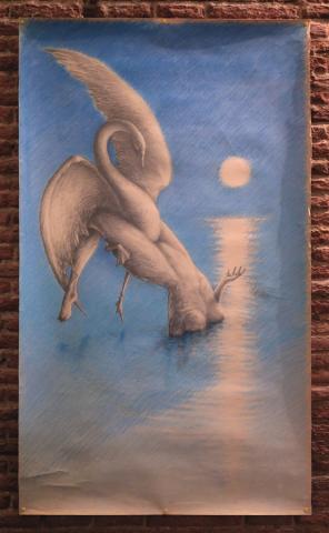 Luis Pita   Dibujos a lápiz   Pencil Drawings   Leda y el Cisne (1983)   Leda and Swan