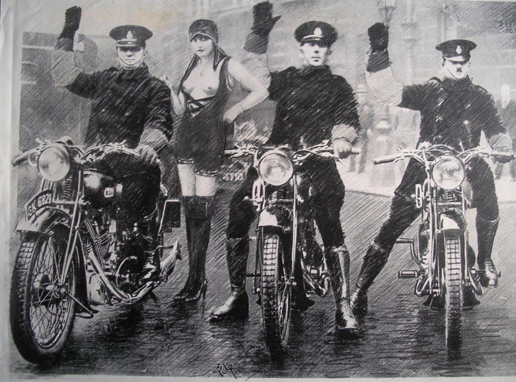 Luis Pita | Intervenciones | Interventions | serie «Los locos años 30'» (1991) | Motos | series «The roaring 30's» | Motorbikes