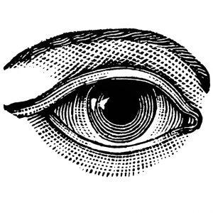 grabado de ojo en blanco y negro