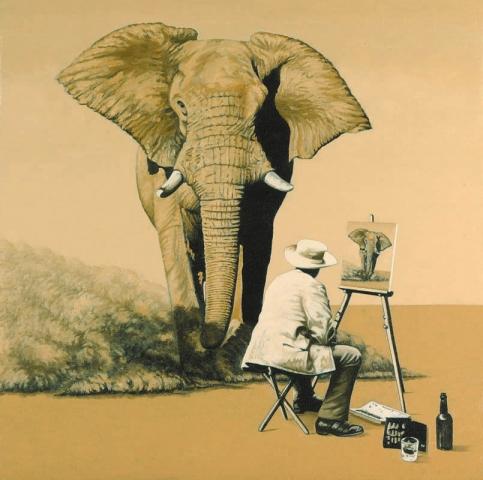 Luis Pita   Pintura   Painting   Action Painting (Thinking On Mark Tansey)   Óleo sobre lienzo (50x50cm)   Oil on canvas   Un elefante africano corre hacia un pintor que esta sentado frente a un caballete pintando un elefante que corre hacia él    An African elephant runs to a painter who sits in front of an easel painting an elephant runs to him