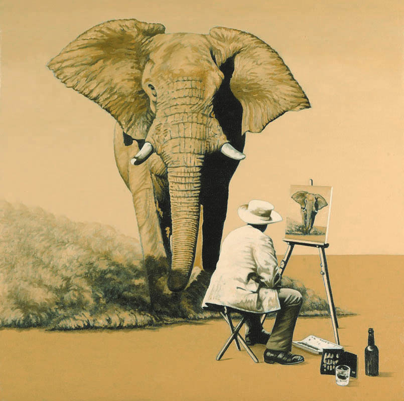Luis Pita | Pintura | Painting | Action Painting (Thinking On Mark Tansey) | Óleo sobre lienzo (50x50cm) | Oil on canvas | Un elefante africano corre hacia un pintor que esta sentado frente a un caballete pintando un elefante que corre hacia él  | An African elephant runs to a painter who sits in front of an easel painting an elephant runs to him