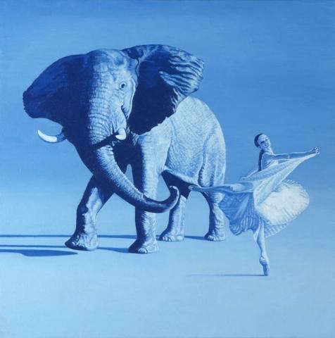 Luis Pita | Pintura | Painting | Elephant´s Walk | Óleo sobre lienzo (50x50cm) | Oil on canvas | Un elefante africano de color azul en un espacio vacío baila con una ballerina de ballet | An African elephant blue in an empty space with a ballerina dancing ballet