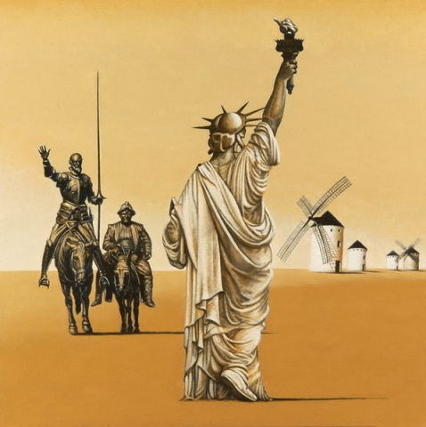 Luis Pita | Pintura | Painting | Gigantes! | Óleo sobre lienzo (50x50cm) | Giants! | Oil on canvas | La estatua de la libertad, vista de espaldas, camina hacia Don Quijote y Sancho Panza y un grupo de molinos de viento  | The Statue of Liberty, seen from behind, walk to Don Quixote and Sancho Panza and a group of windmills