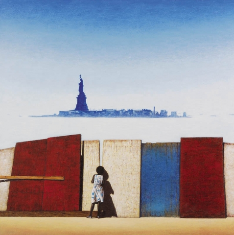 Luis Pita | Pintura | Painting | American Painting | Óleo sobre lienzo (50x50cm) | Oil on canvas | Estatua de la Libertad | niña negra mirando a la bahía | Statue of Liberty | black girl looking the bay