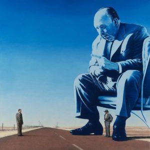Luis Pita | Pintura | Painting | Hitchcock As A God | Óleo sobre lienzo (50x50cm) | Oil on canvas
