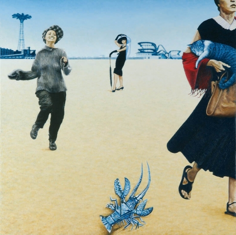 Luis Pita | Pintura | Painting | Las Tres Gracias | Óleo sobre lienzo (70x70cm) | The Three Graces | Oil on canvas | Tres hermosas mujeres, Audey Hepburn, Jeanne Moureau y una joven americana pasean por la playa de Long Beach, a lo lejos se ve el parque de atracciones y su famoso salto en paracaídas | En primer plano una langosta azul pintada por Picasso observa indiferente | Three beautiful women, Audey Hepburn, Jeanne Moreau and an American girl walking along the beach in Long Beach, far away amusement park and its famous parachute jump seen in | In the foreground a blue lobster painted by Picasso observed indifferent