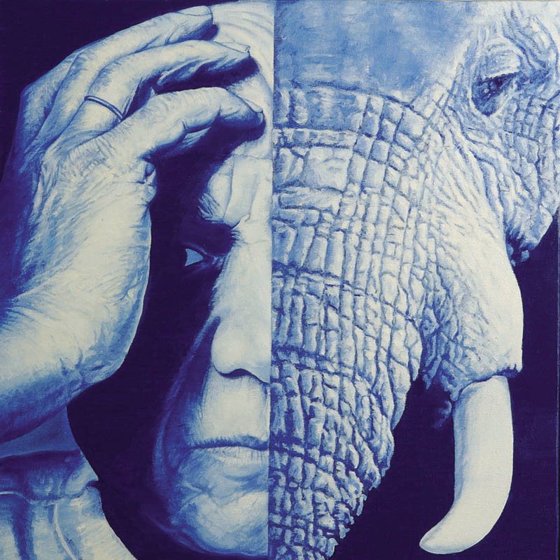 Luis Pita | Pintura | Painting | El Picasso y Yo | Óleo sobre lienzo (50x50cm) | Picasso and Me | Oil on canvas | La mitad de la cara de Picasso es la cara de un elefante azul | yo soy un elefante azul | y soy la mitad de Picasso | Half of the face of Picasso in the face of a blue elephant | I am a blue elephant | and I'm half Picasso