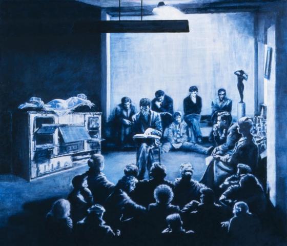 """Luis Pita   Pintura   Painting   BEATNIKS   Óleo sobre papel sobre madera (60x40cm)   Oil on paper on wood   Un grupo numeroso de gente, la mayoría sentados en el suelo, escuchan a un hombre que lee sentado en una silla en el centro de la habitación. A un lado hay una cocina de carbón, sobre ella descansa el cuerpo desnudo de «El Hermafrodita» de la Gallería Borghese de Roma   Todo está pintado en tonos azules y negros   Se respira camaradería intelectual y amistad     A large group of people, most sitting on the floor, listening to a man reading sitting on a chair in the middle of the room. On one side there is a coal stove, where rests the naked body of """"The Hermaphrodite"""" of the Borghese Gallery in Rome   Everything is painted in blue and black tones   intellectual camaraderie and friendship breathes"""