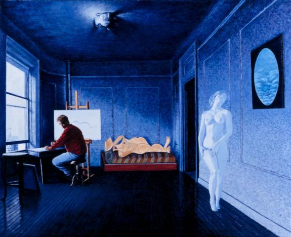 Luis Pita   Pintura   Painting   El Pintor De Nubes   Óleo sobre lienzo (60x55cm)   The Painter of Clouds   Oil on canvas   Un pintor sentado delante de un caballete en una habitación azul, junto a la ventana, observa por encima del hombro el espectro de una mujer desnuda que se aleja   Sobre el diván de la habitación descansa una de las mujeres de Picasso   A painter sitting in front of an easel in a blue room, by the window, look over your shoulder the specter of a naked woman walks away   On the couch in the room lies one of Picasso's women