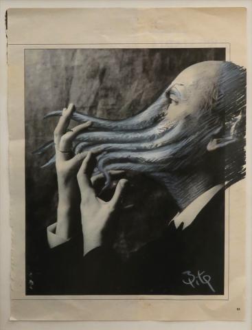 Luis Pita | Intervenciones sobre papel de periódico | Interventions on newspaper | Drawing on press paper | Autorretrato (1988) | Selfportrait | INTERVENCIONES_ A character | Un personaje_ 04
