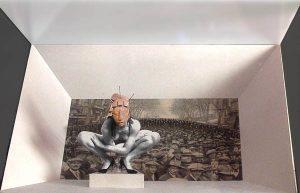 Luis Pita | Montajes tridimensionales | 3-Dimensional Assemblies | El Artista Recluído o «Entre ceja y ceja» (foto de Rambla de Barcelona de los años 20) | The Reclusive Artist  or «Between The Eyes» (photo of Rambla de Barcelona of the 20's)