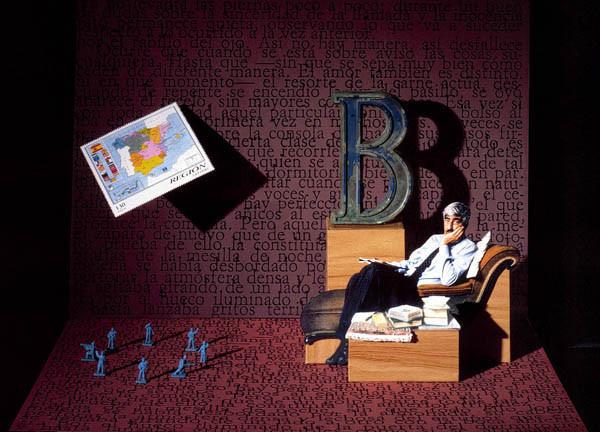Luis Pita | Ilustración Editorial | Book Cover Illustration | Montaje tridimensional para cubierta de libro | 3-Dimensional Assemblies for book illustration | Cuentos Completos | Juan Benet | Alfaguara | Grupo Santillana Publisher Group