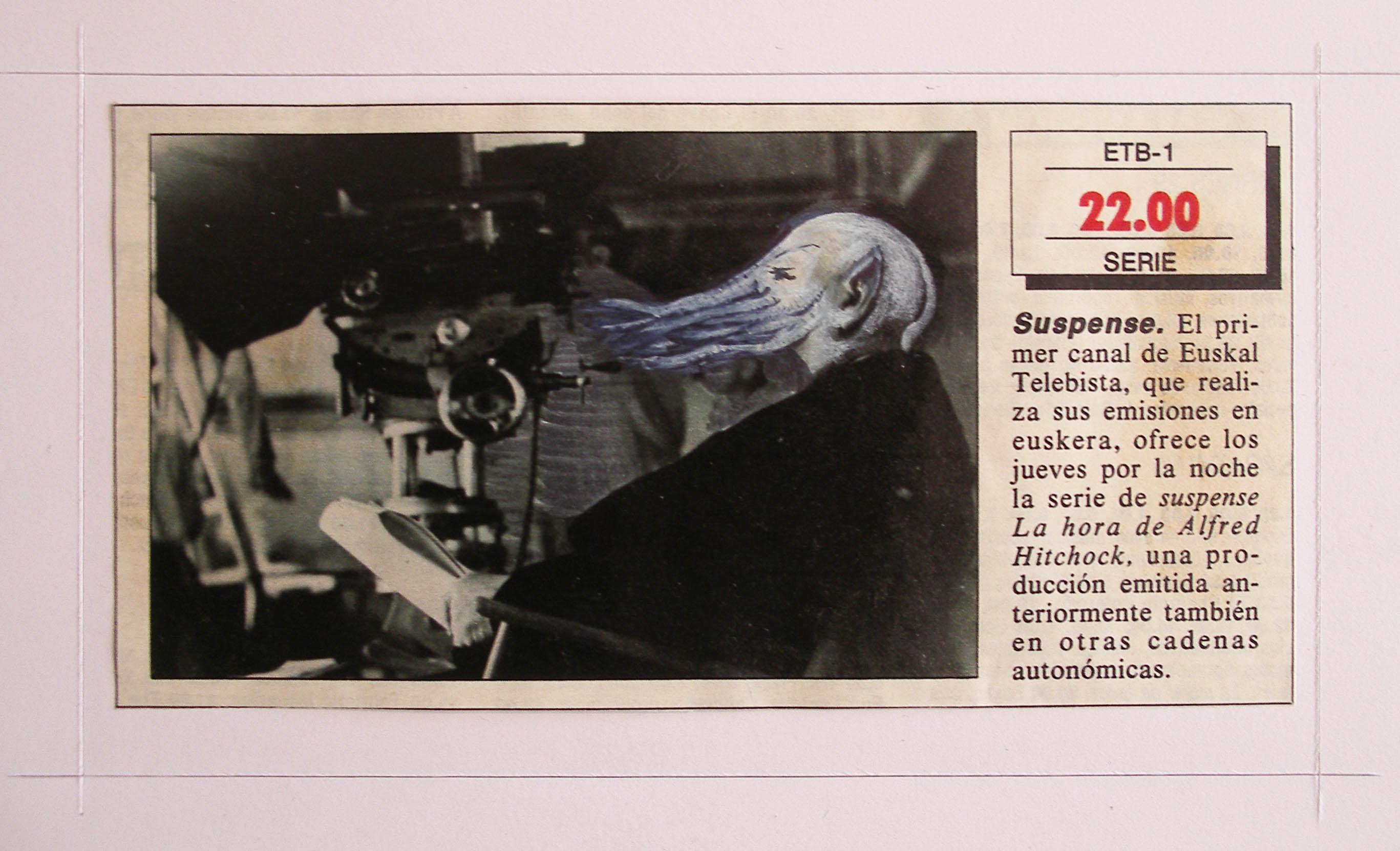 Luis Pita | Intervenciones sobre papel de periódico | Interventions on newspaper | Drawing on press paper | The artist at play (1990) | Hitchcock | Lovercraft | INTERVENCIONES_ A character | Un personaje_ 01