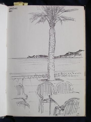 Luis Pita  | Ink line drawing | Dibujo de línea a tinta | Cuaderno de Apuntes de Viajes | Travel Sketchbooks | Spain | Promenade in front of the Mediterranean Sea | Palmtree | Terraza en Paseo Marítimo | Palmera | 000/ Puerto de Jávea (1991) Alicante
