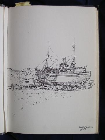 Luis Pita  | Ink line drawing | Dibujo de línea a tinta | Cuaderno de Apuntes de Viajes | Travel Sketchbooks | North of Spain | Galicia | Cantabric Sea | fishing boat in dry dock | barco de pesca en un dique seco | 001/ Puerto de Cariño - A Coruña (1992)