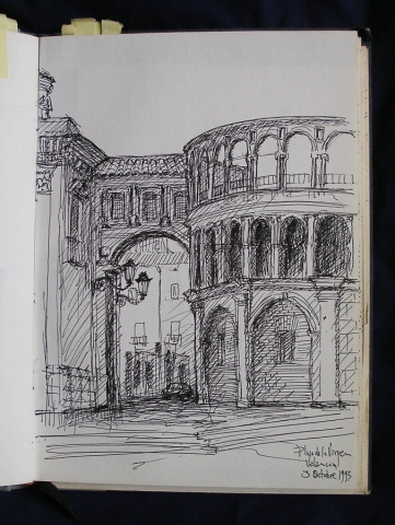Luis Pita | Cuaderno de Apuntes de Viajes | Travel Sketchbooks | Spain | Mediterranean city | Cathedral of Valencia | 003/ Plaza de la Virgen - Valencia (1993)  | Ink line drawing | Dibujo de línea a tinta |