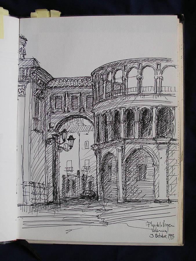 Luis Pita | Cuaderno de Apuntes de Viajes | Travel Sketchbooks | 003/ Plaza de la Virgen - Valencia (1993)
