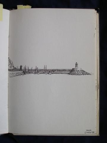 Luis Pita | Cuaderno de Apuntes de Viajes | Travel Sketchbooks | Dock with ships | Barcos en un muelle | 005/ Puerto de Jávea (1995)  | Ink line drawing | Dibujo de línea a tinta |