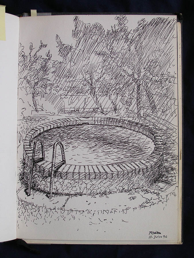 Luis Pita | Cuaderno de Apuntes de Viajes | Travel Sketchbooks | Jardín con pequeña piscina redonda | Small Round Swimming Pool in a garden | Line drawing | Spain | 007/ Piscina en Barcelona (1996) | Ink line drawing | Dibujo de línea a tinta |