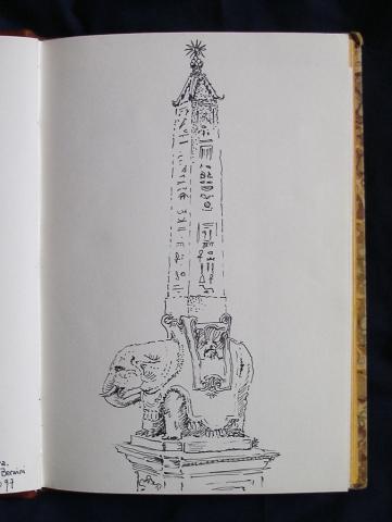 Luis Pita   Cuaderno de Apuntes de Viajes   Travel Sketchbooks   Escultura de Bernini   Elefante   Calles de Roma   Obelisco Egipcio   Bernini sculpture   elephant   Streets of Rome   Egyptian obelisk   Ink line drawing   Dibujo de línea a tinta   008/ Elefantito de Bernini - Roma (1997)
