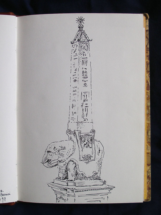 Luis Pita | Cuaderno de Apuntes de Viajes | Travel Sketchbooks | Escultura de Bernini | Elefante | Calles de Roma | Obelisco Egipcio | Bernini sculpture | elephant | Streets of Rome | Egyptian obelisk | Ink line drawing | Dibujo de línea a tinta | 008/ Elefantito de Bernini - Roma (1997)