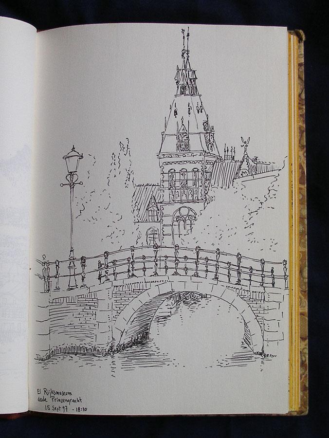 Luis Pita  | Ink line drawing | Dibujo de línea a tinta | Cuaderno de Apuntes de Viajes | Travel Sketchbooks | Holland | Luis Pita | Cuaderno de Apuntes de Viajes | Travel Sketchbooks | 010/ Rijksmuseum desde Prinsengracht - Amsterdam (1997)