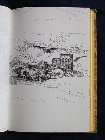 Luis Pita  | Ink line drawing | Dibujo de línea a tinta | Cuaderno de Apuntes de Viajes | Travel Sketchbooks | Segovia | Spain | Mountains | meadow | small town | pequeño pueblo | Sierra de Navacerrada | 012/ Pradera de Valsaín - Segovia (1998)