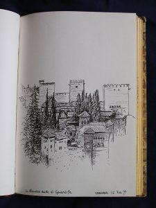Luis Pita   Cuaderno de Apuntes de Viajes   Travel Sketchbooks   0121/ La Alhambra desde el Generalife - Granada (1999)