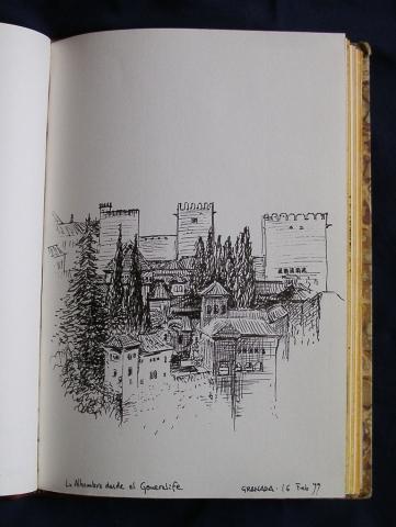 Luis Pita | Ink line drawing | Dibujo de línea a tinta | Cuaderno de Apuntes de Viajes | Travel Sketchbooks | 0121/ La Alhambra desde el Generalife - Granada (1999) | Spain |