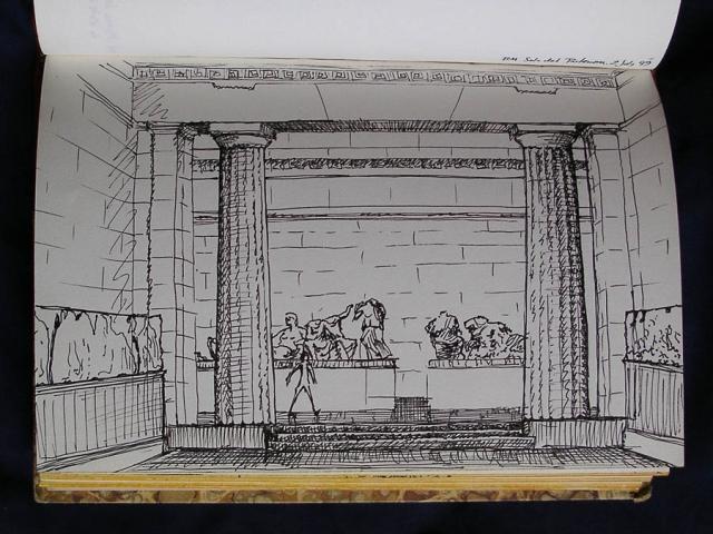 Luis Pita   Cuaderno de Apuntes de Viajes   Travel Sketchbooks   015/ Sala del Parthenon - British Museum - London (1999)   Ink line drawing   Dibujo de línea a tinta   Parthenon Room   Ancient Greece   London