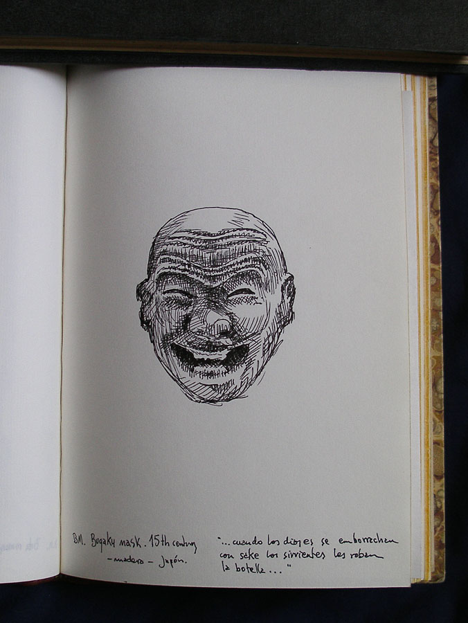 Luis Pita | Cuaderno de Viajes | Travel Sketchbooks | 016/ Máscara japonesa - British Museum - London (1999) | Ink line drawing | Dibujo de línea a tinta | Japanese wooden Bugaku Mask, 15th century | cuando los dioses se emborrachan con sake los sirvientes les roban la botella | when the gods get drunk with sake the servants steal the bottle