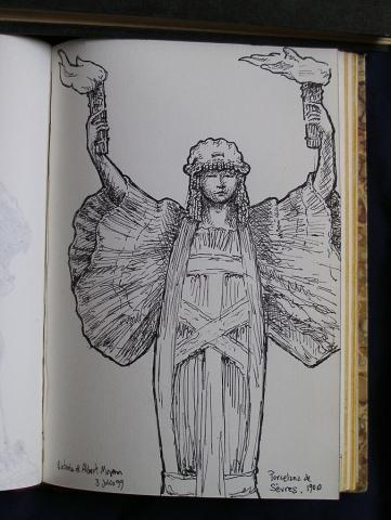 Luis Pita   Cuaderno de Viajes   Travel Sketchbooks   -017/ Porcelana de Sévres - Victoria and Albert Museum - London (1999)   Ink line drawing   Dibujo de línea a tinta   alegoría llevando dos antorchas   allegory carrying two torches