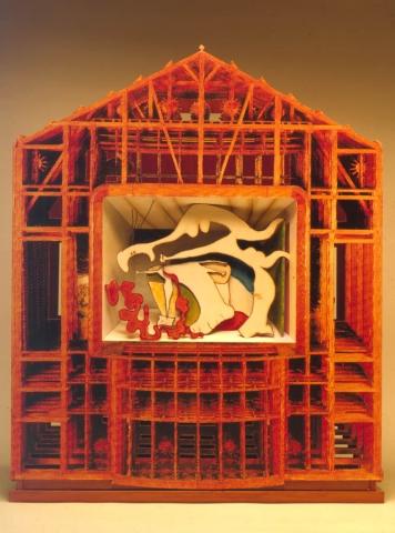 Luis Pita | Montajes tridimensionales | 3-Dimensional Assemblies | (1994) French Painting (a partir de dos cuadros sobre «La Muerte de Marat» de Louis David y de Pablo Picasso) (anverso) | (From two tables on «The Death of Marat» by Louis David and Pablo Picasso) (obverse)